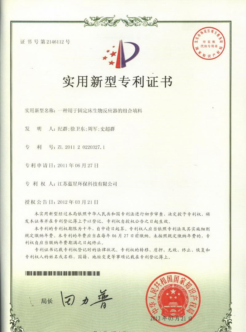 4 ZL201120220327.1一种用于固定床生物反应器的组合填料