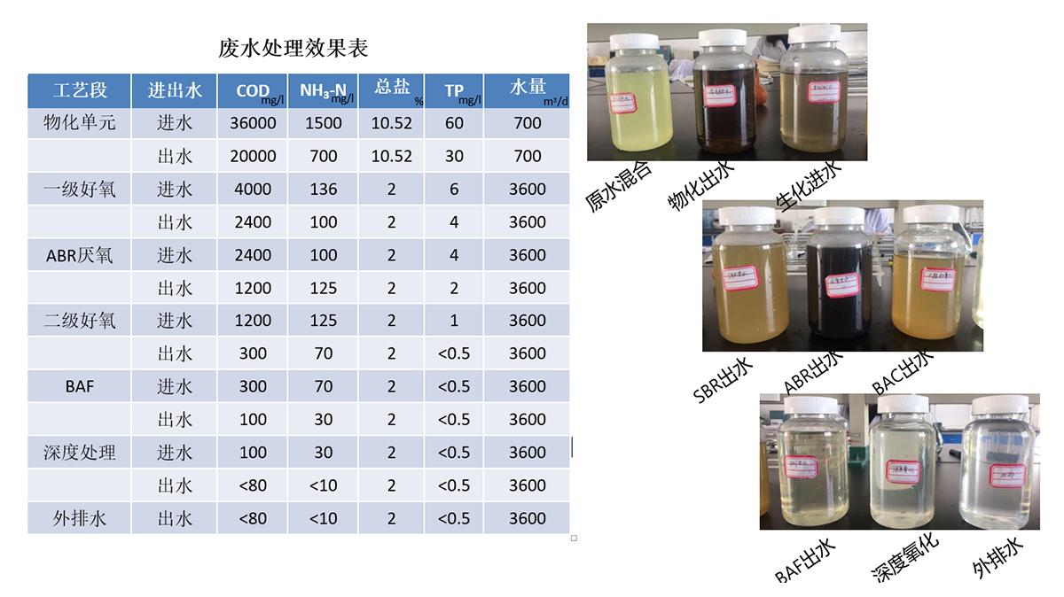 废水处理效果表